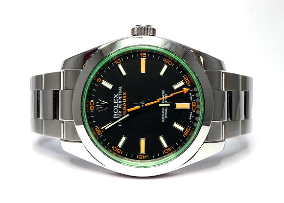 ROLEX 2011 Milgauss, 116400GV, Green Glass, Box & Papers