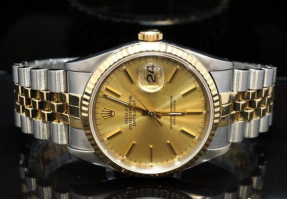 ROLEX 1991 Datejust 36, Steel & Gold, 16233, MINT, Box & Papers