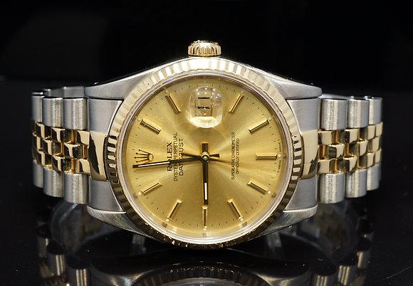 ROLEX 1992 36mm Datejust, Steel & Gold, Champagen Dial, 16233, Box &