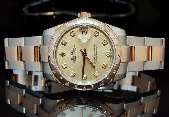ROLEX 178341 Steel & Rose Gold, Diamond Dial & Bezel