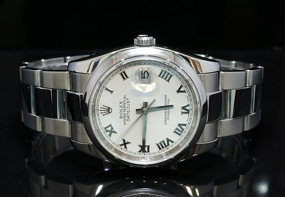 ROLEX 2009 Datejust 36, Steel, 116200, White Roman, Box & Papers