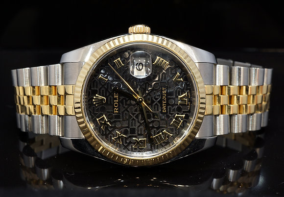 ROLEX 2007 36mm Datejust, Steel & Gold, 116233, Box & Papers