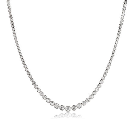 18ct White Gold Rub Over Diamond Necklet