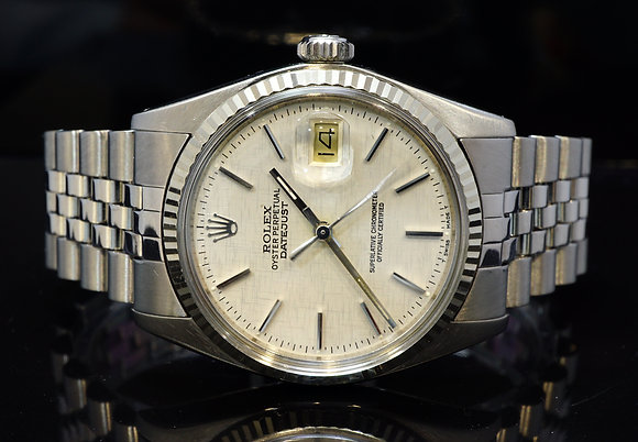 ROLEX 1979 36mm Datejust, Rare Linen Dial, 16014, MINT
