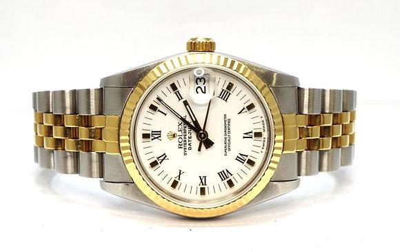 ROLEX 1991 Datejust 31, 68273, Steel & Gold, White Baton/Roman, Boxed