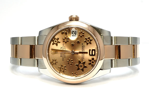 ROLEX 2010 Datejust 31, 178241, Steel & Rose Gold, Flower Dial, Boxed