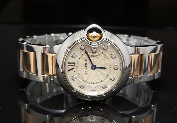 CARTIER Ballon Bleu 28, Steel & Rose Gold, Diamond Dial