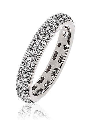 18ct White Gold 3 Row Pave Diamond Band