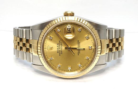 ROLEX 1992 Datejust 36, 16233, Steel & Gold, Diamond Dot Dial, Jubilee, Boxed