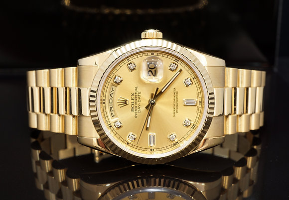 ROLEX 2004 Day-Date 36, 18ct Yellow Gold, 118238, Box & Papers