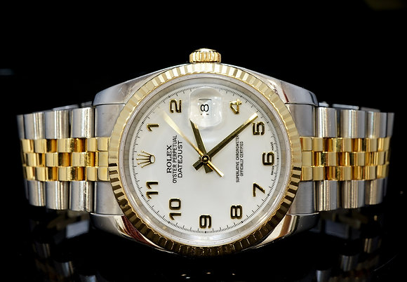 Rolex 2004 36mm Datejust, Steel & Gold, White Arabic,116233, MINT