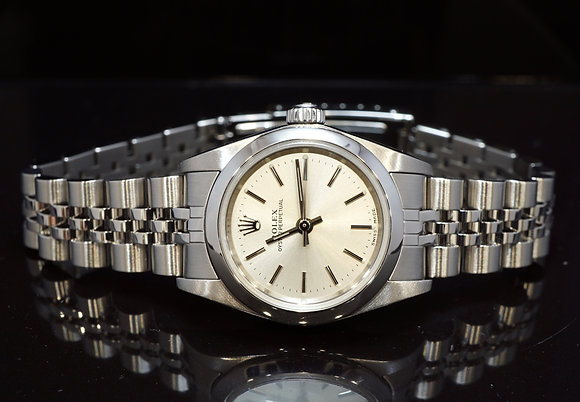 ROLEX 2002 Oyster Perpetual 24, Steel, 76080,Silver Baton, Box & Papers