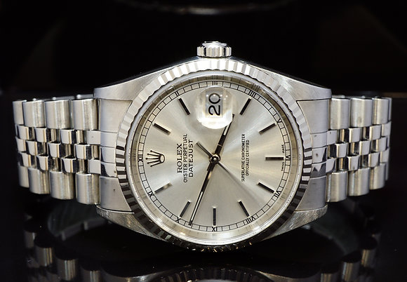ROLEX 2000 36mm Datejust, Stainless Steel,16234, MINT, Box & Papers