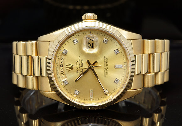 ROLEX 1988 Day-Date 36, Diamond Dot Dial,18038, Box & Papers