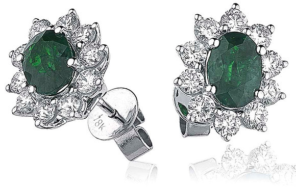 18ct White Gold Emerald & Diamond Cluster Studs