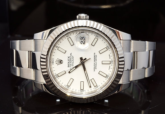 ROLEX 2014 41mm Datejust II, White Gold Bezel, 116334, Box & Papers