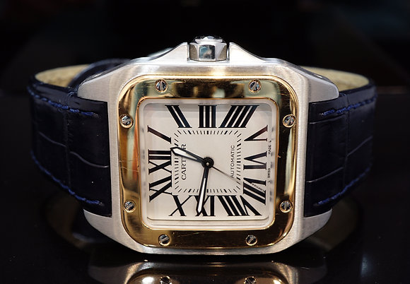 CARTIER Santos 100, Steel & Rose Gold, W20107X7, MINT, Boxed