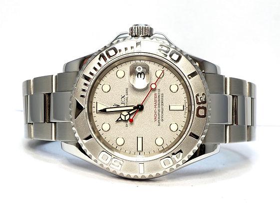 ROLEX 2002 Yacht-Master 40, 16622, Platinum Bezel, Box & Papers
