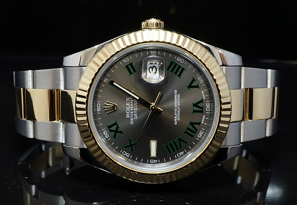 "ROLEX 2015 41mm Datejust 2, ""Wimbledon"", Steel & Gold, 116333, B&P"