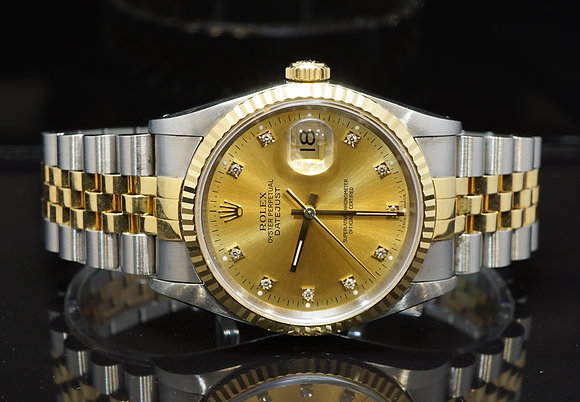 ROLEX 1991 Datejust 36, Steel & Gold, 16233, Diamond Dot Dial, Boxed