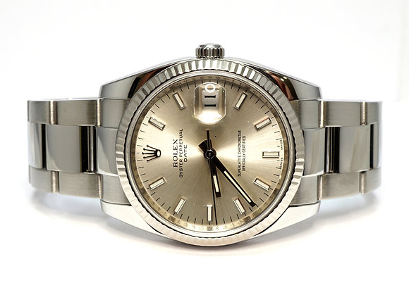 ROLEX 2008 Date 34, 115234, Silver Baton, White Gold bezel, Box & Papers