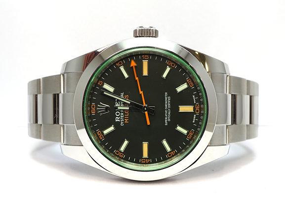 ROLEX 2020 Milgauss, 116400GV, Green Glass Black Dial, UNWORN, Box & Papers