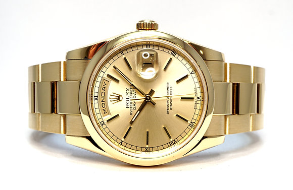 ROLEX 2006 Day-Date 36, 118208, 18ct Yellow Gold, Oyster Bracelet, Box & Papers