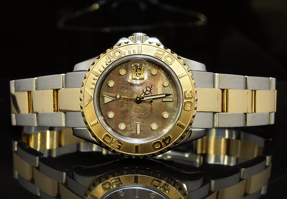 ROLEX 2004 29mm Yachtmaster, Steel & Gold, Black MOP, Box & Papers