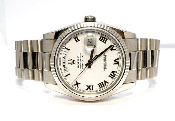 ROLEX 2001 Day-Date 36, 118239, 18ct White Gold, President, White Roman, Boxed