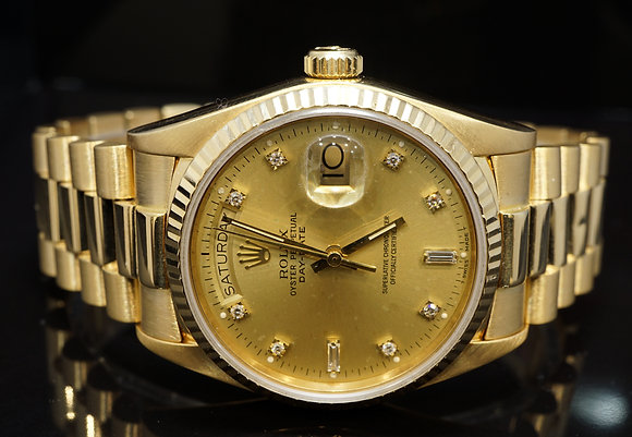 ROLEX 1986 36mm Day-Date, 18ct Yellow Gold, 18038, Diamond Dot Dial, Boxed