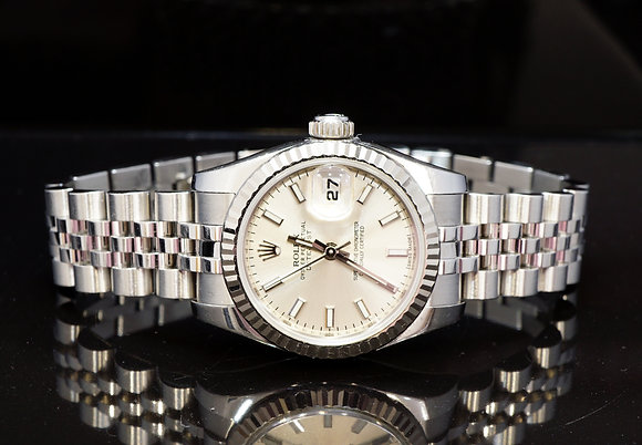 ROLEX 2013 26mm Datejust, White Gold Bezel, 179174, Box & Papers