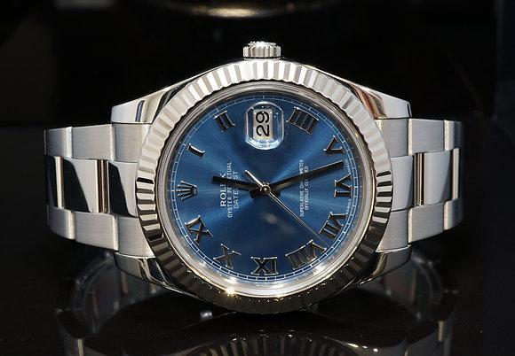 ROLEX 2010 41mm Datejust II, Steel, 116334, Azzurro Blue Dial, Box & Papers