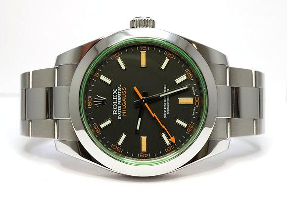 ROLEX 2010 Milgauss, 116400GV, Green Glass, MINT, Box & Papers
