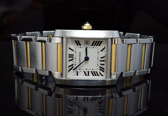 CARTIER 2003 Mid Size,Tank Francasie, Steel & Gold,Box & Papers
