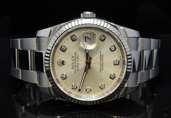 ROLEX 2012 36mm Datejust, Diamond Dial, 116234, Box & Papers