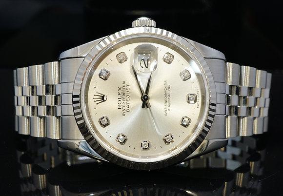 ROLEX 1995 36mm Datejust, Diamond Dial, MINT, 16234