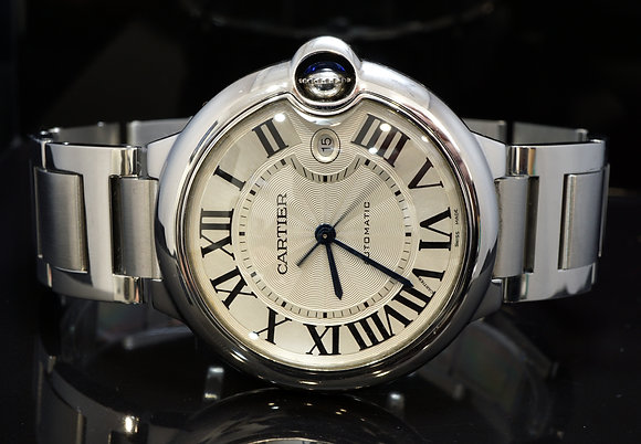 CARTIER 2017 42mm Ballon Bleu, W69012Z4, MINT, Auto, Stainless Steel