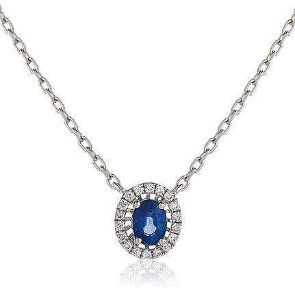 18ct White Gold Sapphire & Diamond pendant & Chain
