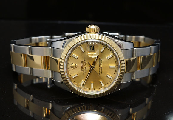 ROLEX 2010 26mm Datejust, Champagne Baton, Steel & Gold, 179173, Box & Papers