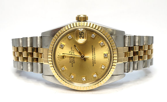 ROLEX 1991 Datejust 31, 68273, Steel & Gold, Diamond Dot Dial, Boxed