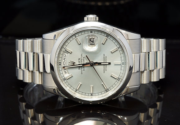 ROLEX 2007 Day-Date 36 Platinum, 118206, Ice Blue, Box & Papers