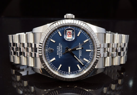 ROLEX 2012 36mm Datejust, Blue Baton, 116234, MINT, Box & Papers