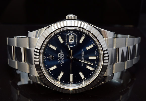 ROLEX 2013 Datejust II, UNWORN, Steel, 116334, Blue Baton, Box & Papers