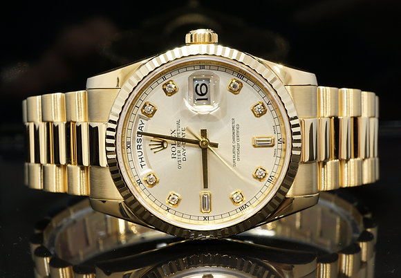 ROLEX 2009 Day-Date 36, 118238, Diamond Dot, President, Box & Papers