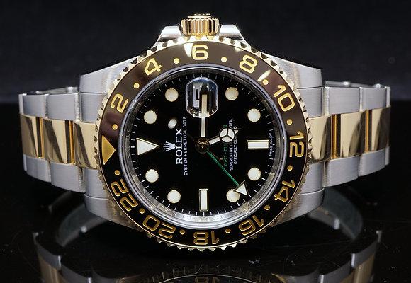 ROLEX Steel & Gold, GMT 2, 2011, 116713LN, B & P