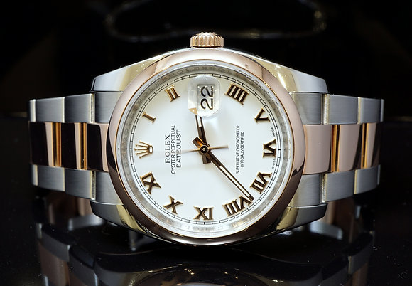 ROLEX 2009 36mm Datejust, Steel & Rose Gold, 116201, MINT, Box & Papers