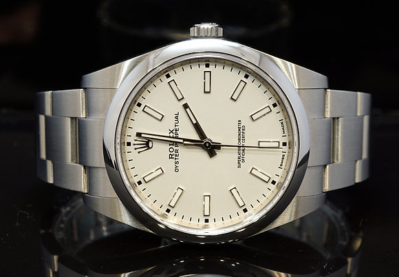 ROLEX 2019 Oyster Perpetual 39, 114300, White, Box & Papers