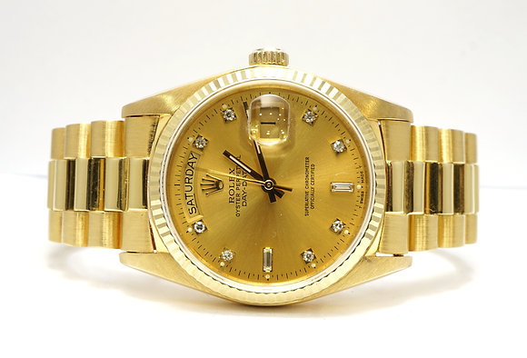 ROLEX 1996 Day-Date 36, 18038, 18cty Gold, Champagne Diamond Dot Dial, Boxed