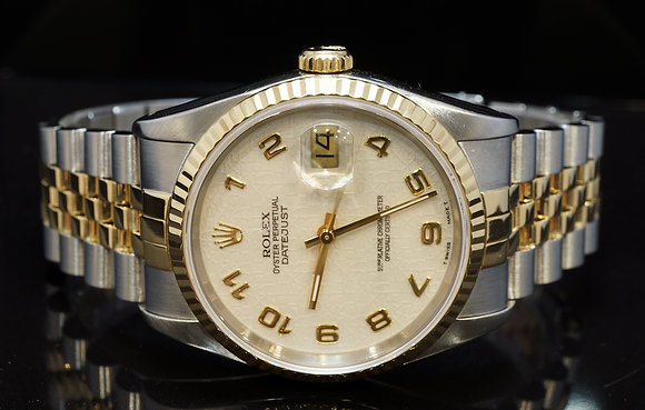 ROLEX 1990 36mm Datejust, Steel & Gold, 16233, Box & Papers