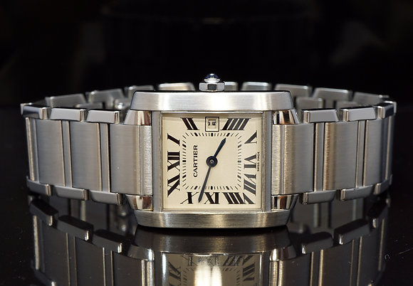 CARTIER 2007 Midsize Tank Francaise, Steel, W51011Q3, Quartz, B&P